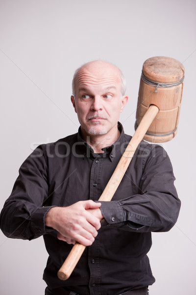 suspect man with a wooden big hammer Stock photo © Giulio_Fornasar