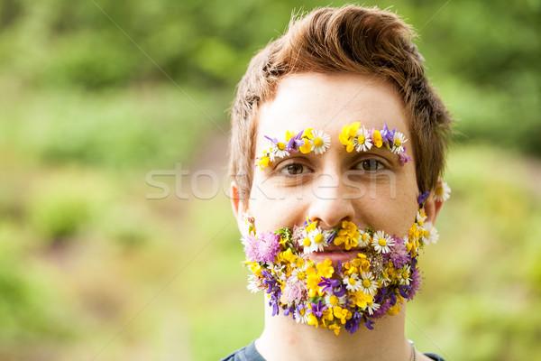 Foto stock: Retrato · cara · flores · barba · natureza