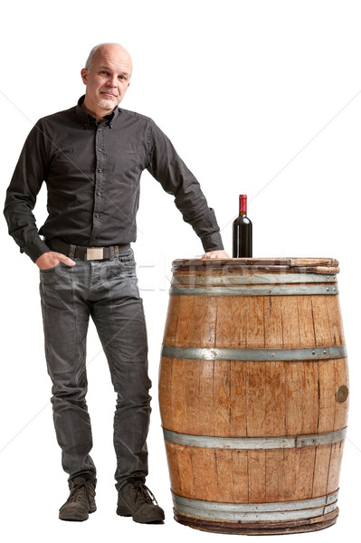 Viticulture concept with a man, barrel and wine Stock photo © Giulio_Fornasar