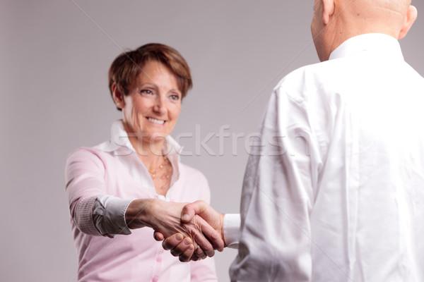 Stock fotó: Sikeres · idős · nő · boldog · üzlet · kéz