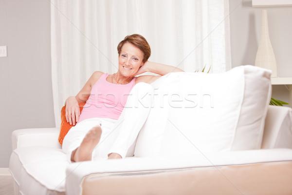 érett friss nő boldog öregasszony egészséges Stock fotó © Giulio_Fornasar