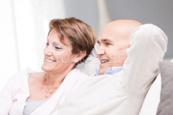 Happy couple enjoying watching television Stock photo © Giulio_Fornasar