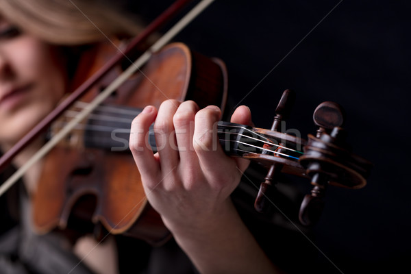 closeup of a violinist's hand playing Stock photo © Giulio_Fornasar