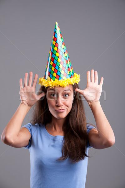 Grappig gezichten hoed partij clown meisje Stockfoto © Giulio_Fornasar