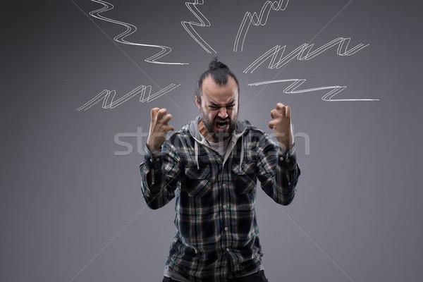 Man schreeuwen woede zigzag Stockfoto © Giulio_Fornasar