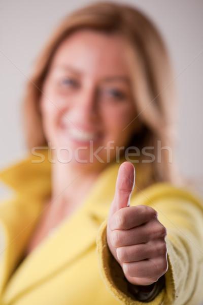 Happy woman ok smiling successful Stock photo © Giulio_Fornasar