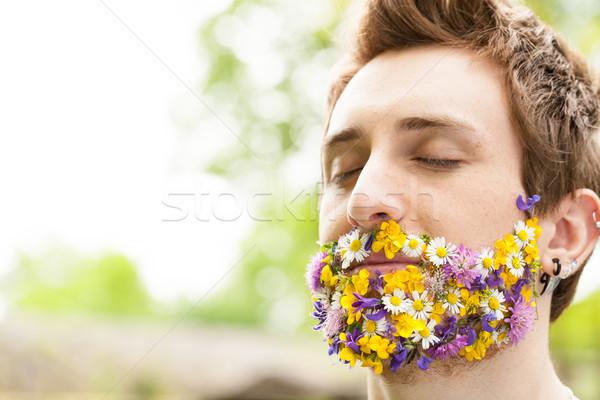 Retrato cara flores barba natureza Foto stock © Giulio_Fornasar