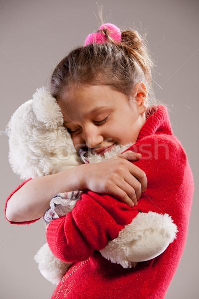 ストックフォト: 女の子 · 少女 · 笑顔 · 髪 · 背景 · ヘッドホン