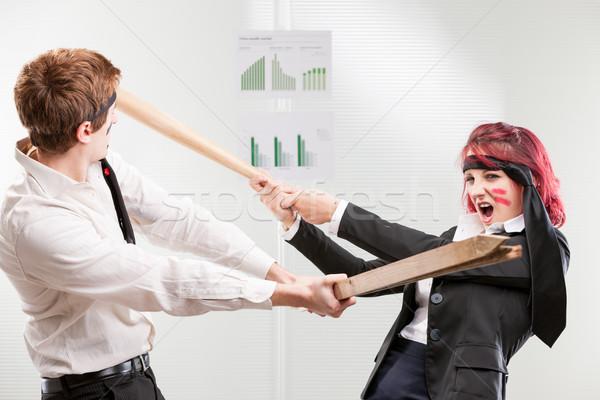 Guerra mujer hombre lugar de trabajo lucha empate Foto stock © Giulio_Fornasar