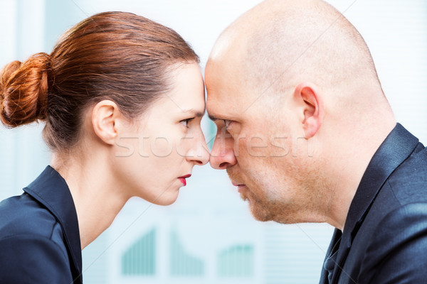 Férfi vs nő iroda konfrontáció üzletember Stock fotó © Giulio_Fornasar