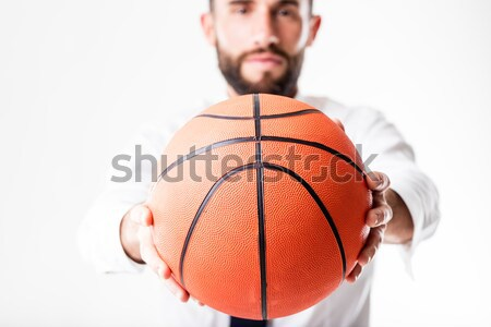 Seductive woman standing with basketball Stock photo © Giulio_Fornasar