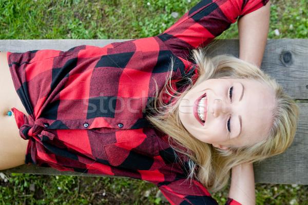 Mutlu kadın yeşil güzel Stok fotoğraf © Giulio_Fornasar