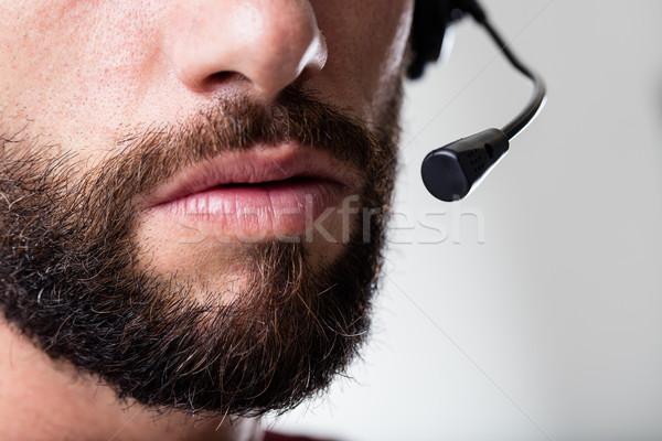 Operador atendimento ao cliente boca barba Foto stock © Giulio_Fornasar