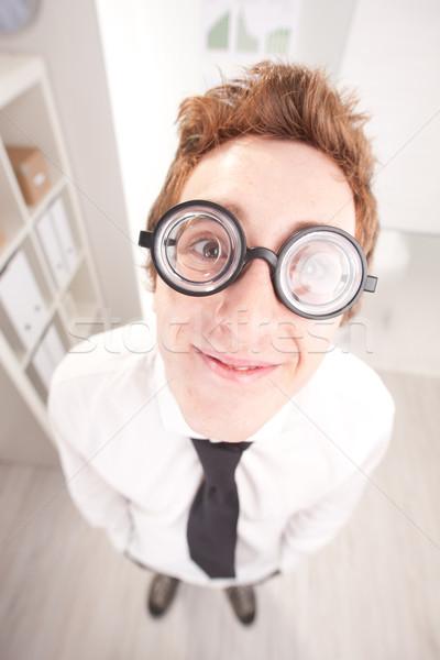 Felice nerd grande occhiali grandangolo punto Foto d'archivio © Giulio_Fornasar