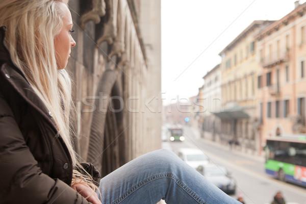 tourist girl relaxing on European stairs Stock photo © Giulio_Fornasar