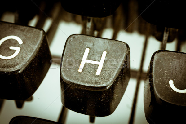 H letter on a vintage typewriter keyboard Stock photo © Giulio_Fornasar
