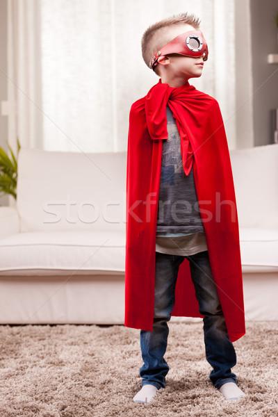 Piros köpeny gyerek nappali szuperhős kicsi Stock fotó © Giulio_Fornasar