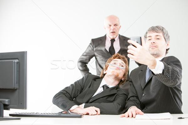 Werkplek slechte baas twee lui Stockfoto © Giulio_Fornasar
