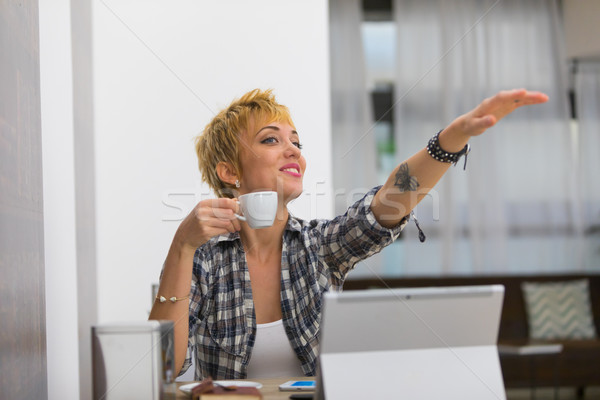 woman in business in a bar with an espersso Stock photo © Giulio_Fornasar