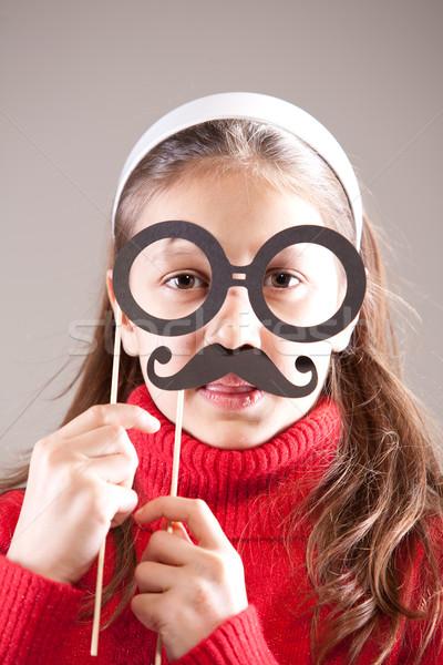 Dziewczynka gry profesor naukowiec dziewczyna twarz Zdjęcia stock © Giulio_Fornasar