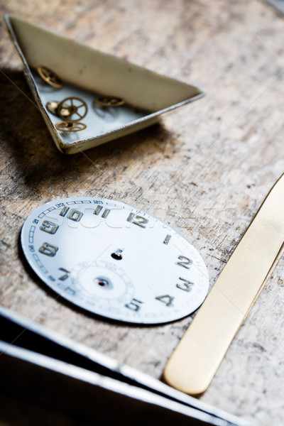 antique watch quadrant and clockworks on a repair table Stock photo © Giulio_Fornasar