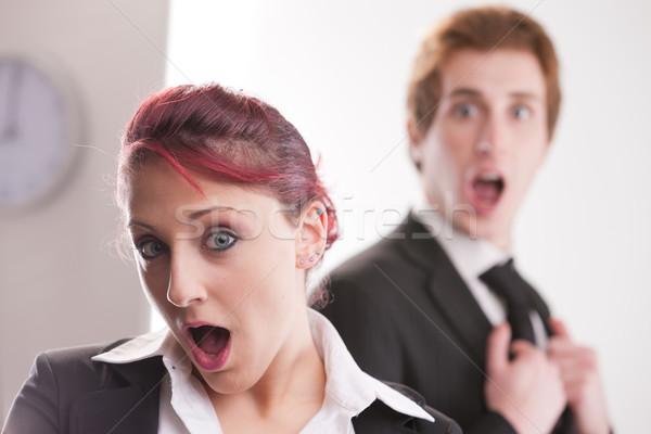 Schockiert Geschäftsmann business woman Geschäftsleute Büro Business Stock foto © Giulio_Fornasar