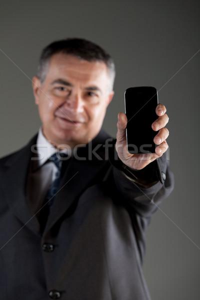 Foto stock: Empresario · teléfono · móvil · cámara · enfoque · ordenador