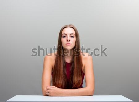 beautiful long hair woman on gray copyspace Stock photo © Giulio_Fornasar