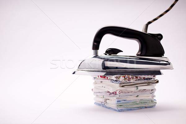 Elektromos vasaló ódivatú fekete műanyag fogantyú Stock fotó © Giulio_Fornasar