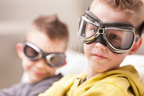 little video game pilots boys Stock photo © Giulio_Fornasar