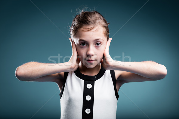 girl preventing herself to hear Stock photo © Giulio_Fornasar