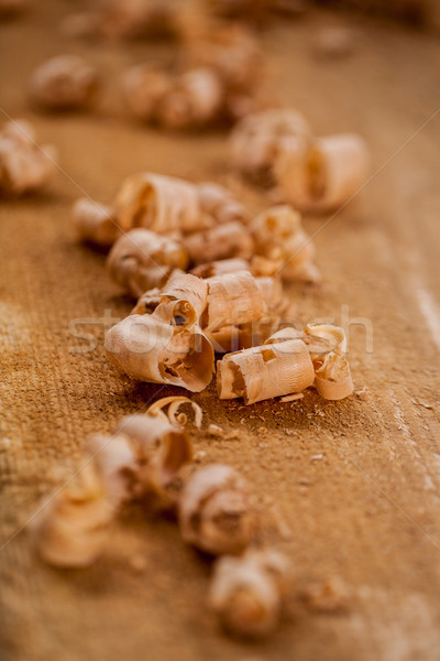 Stock photo: chips and sawdust on a wooden board