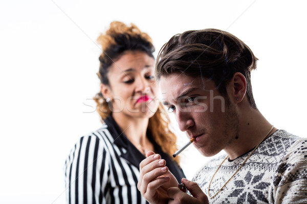 Adam sigara içme kadın hayal kırıklığı duman sigara Stok fotoğraf © Giulio_Fornasar