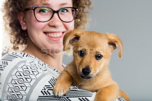 Mulher cãozinho brasão pequeno cão Foto stock © Giulio_Fornasar
