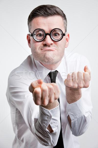 странно человека готовый борьбе бизнеса бизнесмен Сток-фото © Giulio_Fornasar