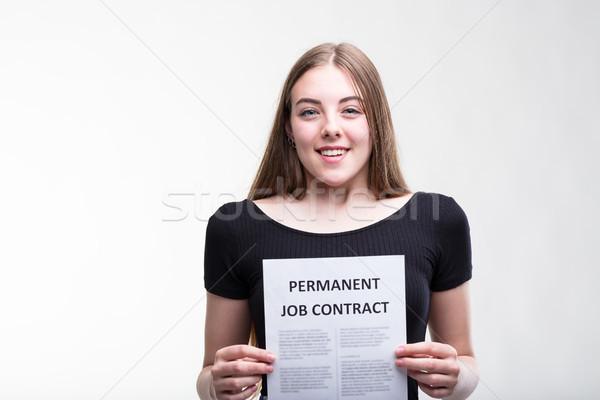 Uśmiechnięty udany szczęśliwy młodych pracy wnioskodawca Zdjęcia stock © Giulio_Fornasar