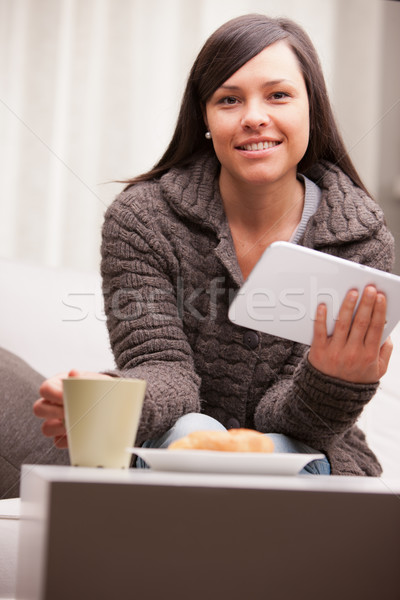young businesswoman having a working breakfast Stock photo © Giulio_Fornasar