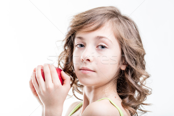 Lány falat piros alma fehér portré tart Stock fotó © Giulio_Fornasar