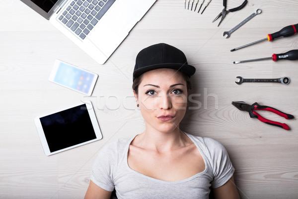 computer no problem says this woman Stock photo © Giulio_Fornasar