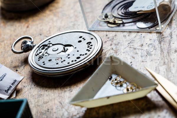 closeup of pocket watch mechanism and clockworks Stock photo © Giulio_Fornasar