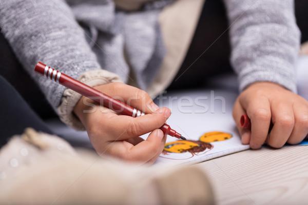 芸術的 女の子 カラフル 図面 シート ストックフォト © Giulio_Fornasar