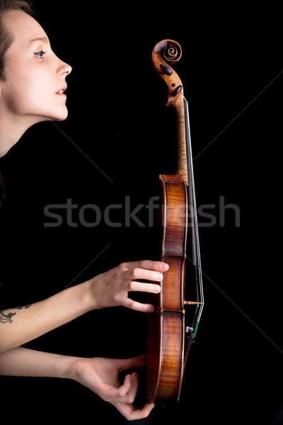 woman profile and violin on black background Stock photo © Giulio_Fornasar