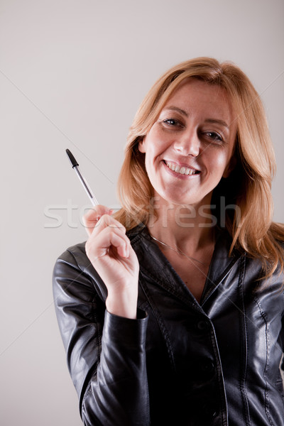 student or professor or a woman with pen Stock photo © Giulio_Fornasar