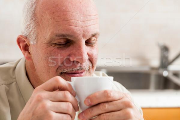 Homem olhos fechar café para cima Foto stock © Giulio_Fornasar
