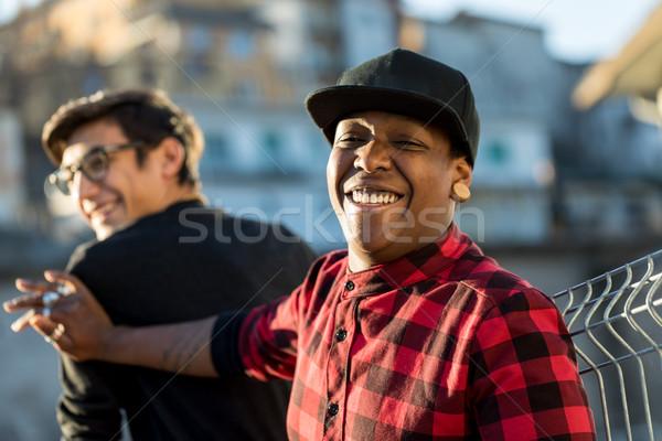 Twee jongens grapje lachend straat paar Stockfoto © Giulio_Fornasar