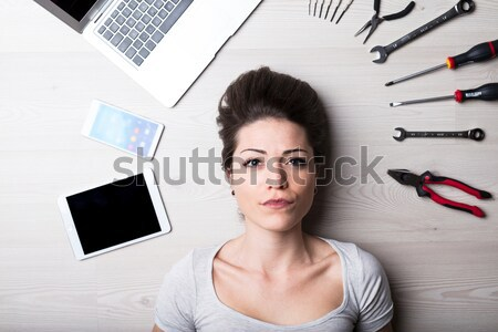 woman with creative entertainment tools Stock photo © Giulio_Fornasar
