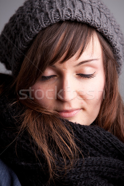 closed eyes girl with hat and scarf Stock photo © Giulio_Fornasar