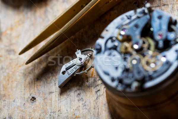 Opened watch mechanism on a watchmakers bench Stock photo © Giulio_Fornasar