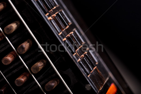 details of ancient musical instrment on black background Stock photo © Giulio_Fornasar