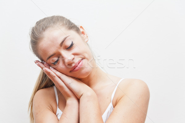 girl gesture of sleeping and dreaming Stock photo © Giulio_Fornasar